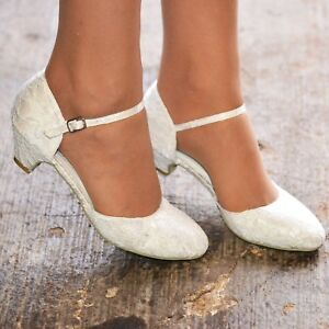 aa5832f30ee Low Heel Wedding Shoes Ladies MidHeel Floral Lace Ankle Strap Full ...