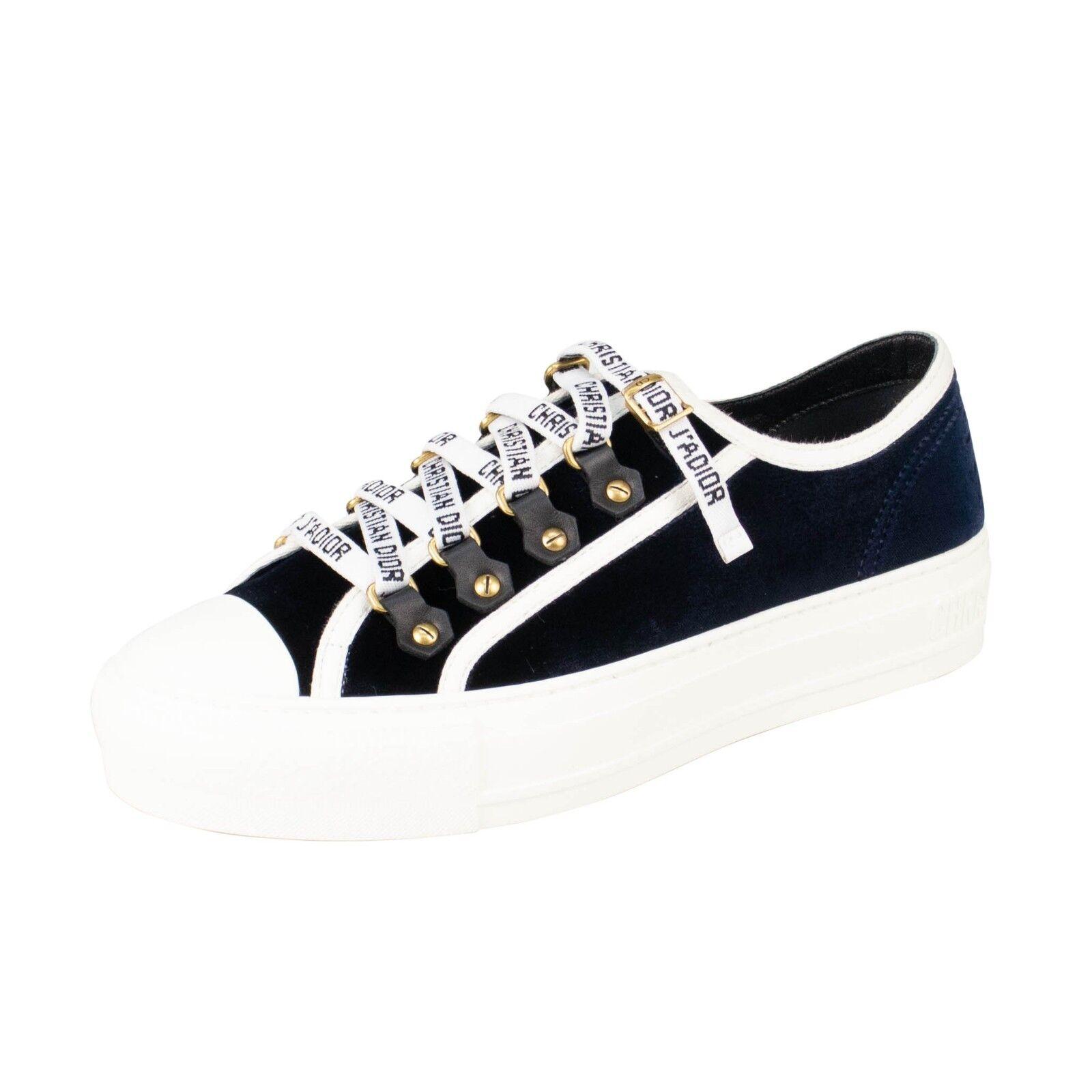 Nuevo En Caja Christian Dior Deep azul Velvet  Walk Tenis 'n' Dior  Tenis Walk Zapatos 8.5 38.5 e3c01f
