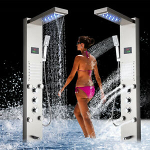 LED-Shower-Panel-Waterfall-Rain-Shower-Column-Tower-Jets-Hand-Tap-Brushed-Nickel