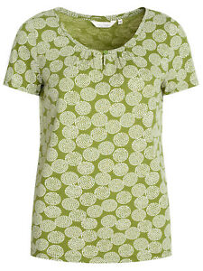 SEASALT-Ladies-GREEN-Dotty-Spot-Citron-Top-Organic-Cotton-Decorative-Art-RRP-22