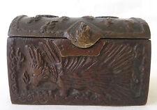 Antique Chinese Export Bronze Casket w/ Phoenix/Dragon Decoration