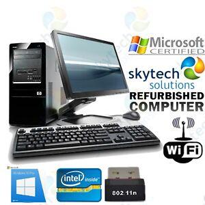 Windows-10-Computadora-Hp-Barato-Conjunto-Completo-Torre-Monitor-rapido-Intel-Dual-Core-PC-WIFI