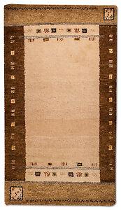 Tapis-moderne-GABBEH-Pont-141-x-75-cm-beige-noue-a-la-main-laine-G1203