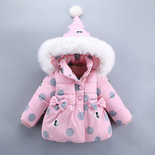Toddler Baby Kids Girls Puffer Down Jacket Winter Thick Warm Coat Outerwear Bow