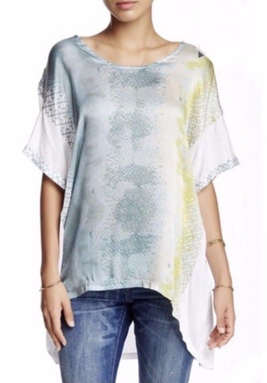 NWT  Johnny Was Biya Kaleah 100% Silk Print Tunic Blouse Sz S Ret