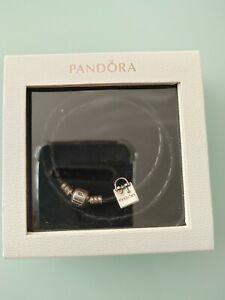 Details about Bundle of Pandora Moments double black leather bracelet and  Shopping Bag charm
