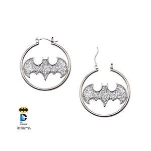 Official-DC-Batman-Batgirl-Logo-Glitter-Sparkle-Hoop-Hoops-Dangle-Earrings