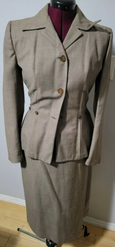"""Vintage 40s 50s 36""""b Fitted Suit Jacket 28"""" W Penc"""