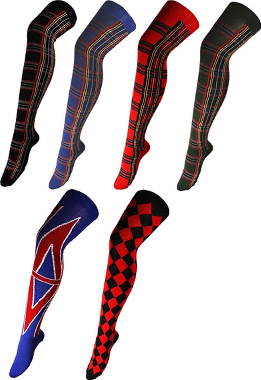 Flt Co. Über Die Kniehoch Tartan Harlequin Union Jack Socken Strumpfband 4-7