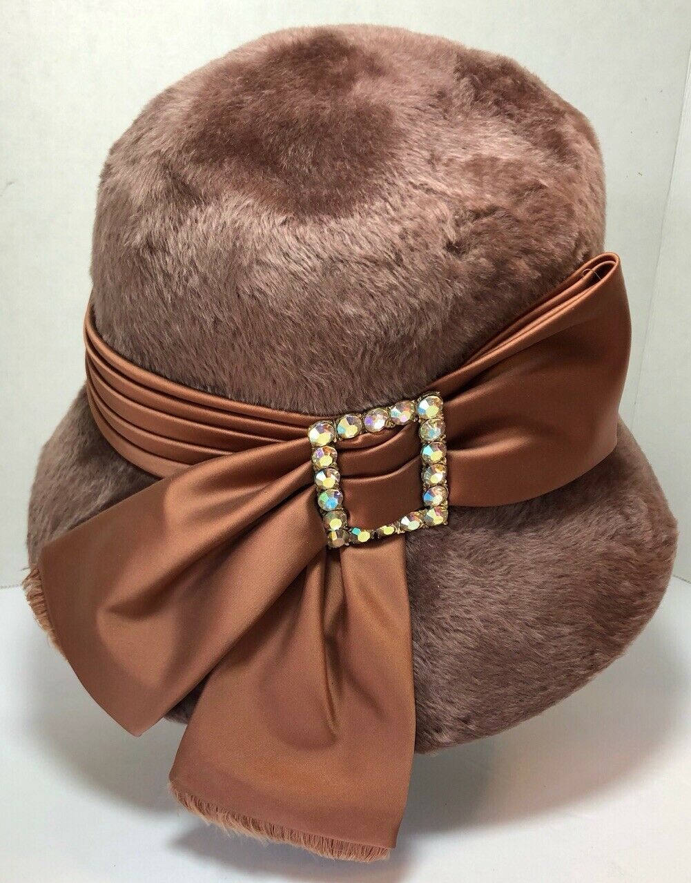 Vintage 60s Fur Felt Hat by Milady Mocha Brown Hat with Silky Feather Print Fabric Band.Mod Cloche Style Hat