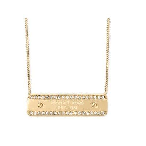 583fd17c3ed3 Michael Kors Mkj5960710 Gold Tone Logo Plaque Pendant Necklace Mkj5960 for  sale online
