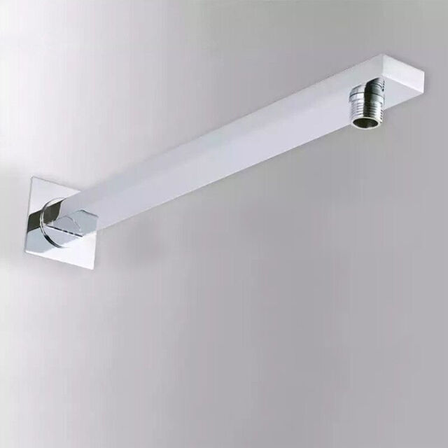 Bathroom 16 Inch Square Wall Mount Shower Arm With Flange Polished Chrome
