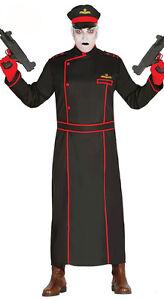 Hommes-Commissar-Deguisement-Costume-Halloween-Noir-Manteau-Militaire-amp-Chapeau