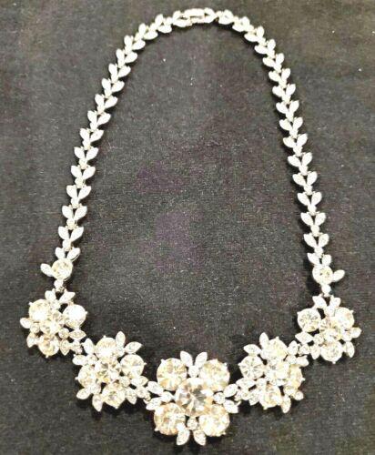 Vintage ORA big rhinestone clusters silver tone me