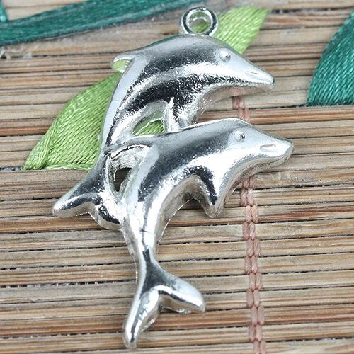 6pcs tibetan silver color couple dolphins charms EF0285