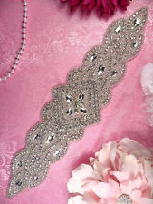 XR205 Bridal Sash Applique Silver Beaded Crystal Clear Glass Rhinestone 13.5""