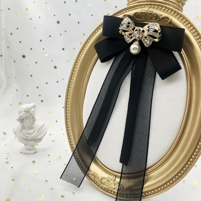 Clothing accessories shirt collar Pin Brooch Vintage BOW LACE pearl bow tie