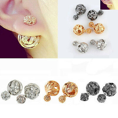 New Design Womens Double Sides Two Hollowed Gold Plated Ball Studs Earrings Hot