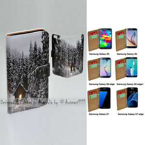For Samsung Galaxy Series Snow Forest Theme Print Wallet Mobile Phone Case Cover