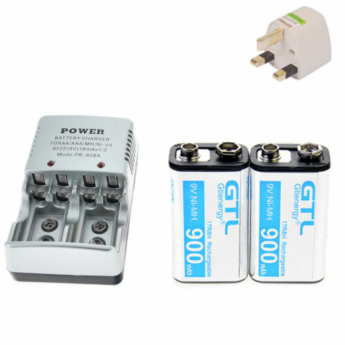 2X Durable 9V 9 Volt 900mAh Power Ni-Mh Rechargeable Battery /& 2-bit Charger