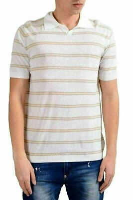 MALO Mens Beige Striped Knitted Short Sleeve Polo Shirt