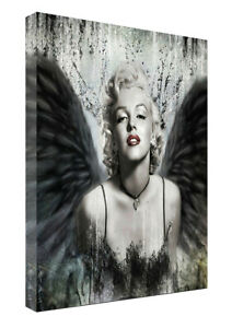 MARILYN MONROE  ANGEL PRINT ON FRAMED CANVAS WALL ART HOME DECORATION PICTURE