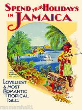 Holiday Jamaica Caribbean Islands Jamaican Vintage Travel Advertisement Poster