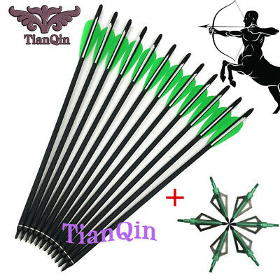 "12x Hunting Crossbow Archery16//20//22/""Carbon Arrow+6x 125 Grains Broadheads Arrow"