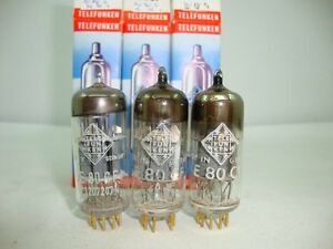 3-X-E80CF-TELEFUNKEN-NOS-NIB-TUBES-with-lt-gt-GOLD-PINS-CRYOTREATED