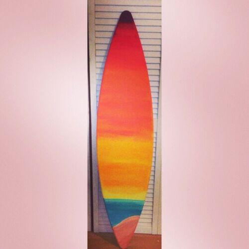 Surf Surfboard Beach Pool Tiki Hawaiian Sunset Wall Sign Decoration