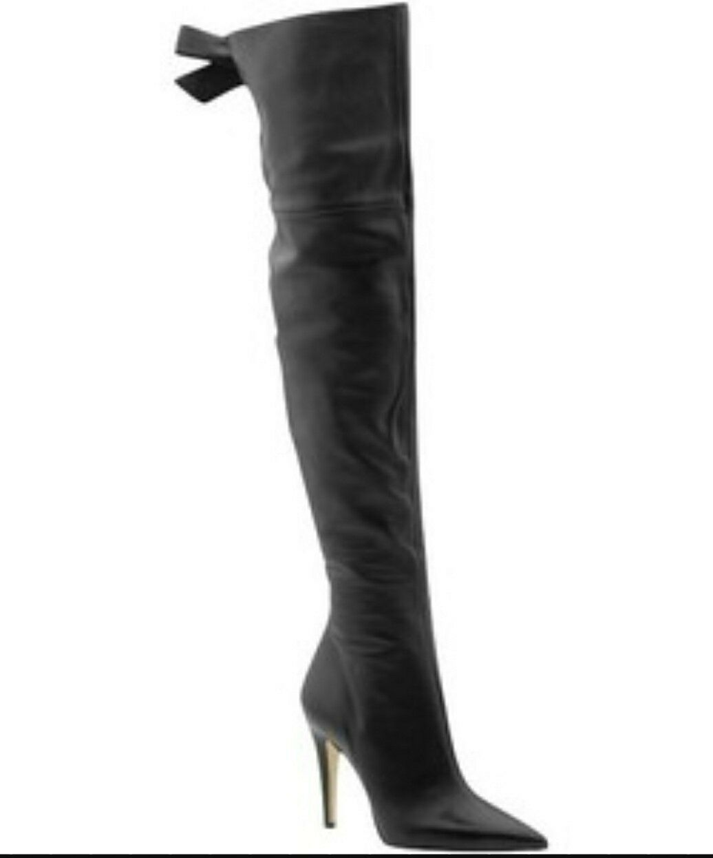 Via Spiga Black Leather OTK Over The Knee Thigh High Boots Bow Slim Calf 8