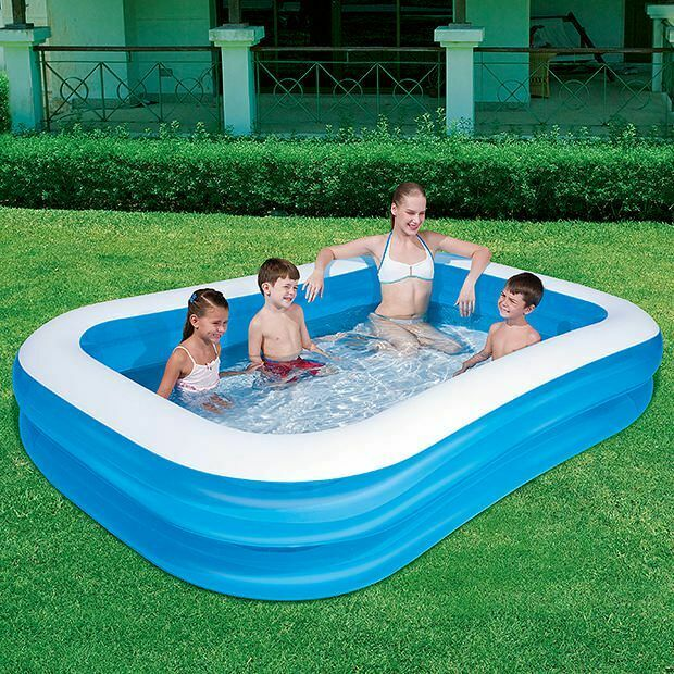 Inflatable Rectangular Family Swimming Pool 262 x 175 x 51 cm Blue for Kids