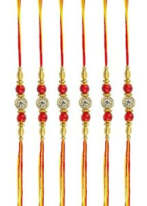 Fast Deliver 6 X Rakhi Thread Bracelet Multicolour Bead Raksha Bandhan Rakhi Wrist Band Dora Other Hinduism Collectibles Religion & Spirituality
