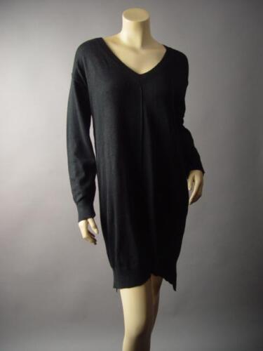 Black Long V-Neck Classic Boyfriend Pullover Jumper Sweater 201 mv Tunic S L