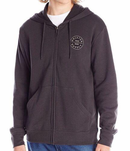Brixton OATH Washed Black Grey Zip Hoody Fleece Men/'s Sweatshirt