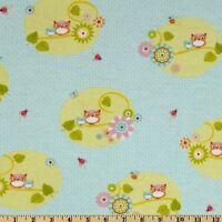 Fabric Owls Tree Branches Blue Pink Green Yellow Branch 100% Cotton Flannel BTY