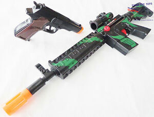 2X Toy Guns Military M-16 Toy Rifle & Black 9MM Pistol Toy Cap Gun Set SAFE