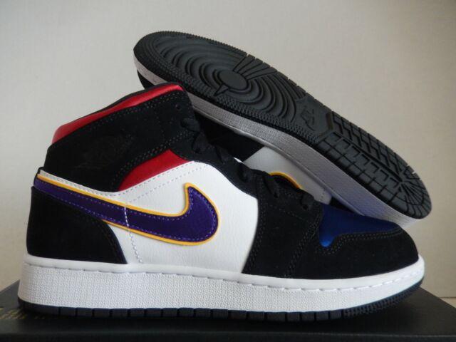 Nike Air Jordan 1 Mid SE Size 5y Lakers Top 3 Rivals Black Bq6931-005