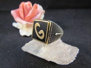 Silber, 800er- 925er Bescheiden Silberring Männerring Siegelring Ring Sterlingsilber 925 Handarbeit Emaille Gr62 Reichhaltiges Angebot Und Schnelle Lieferung Silber