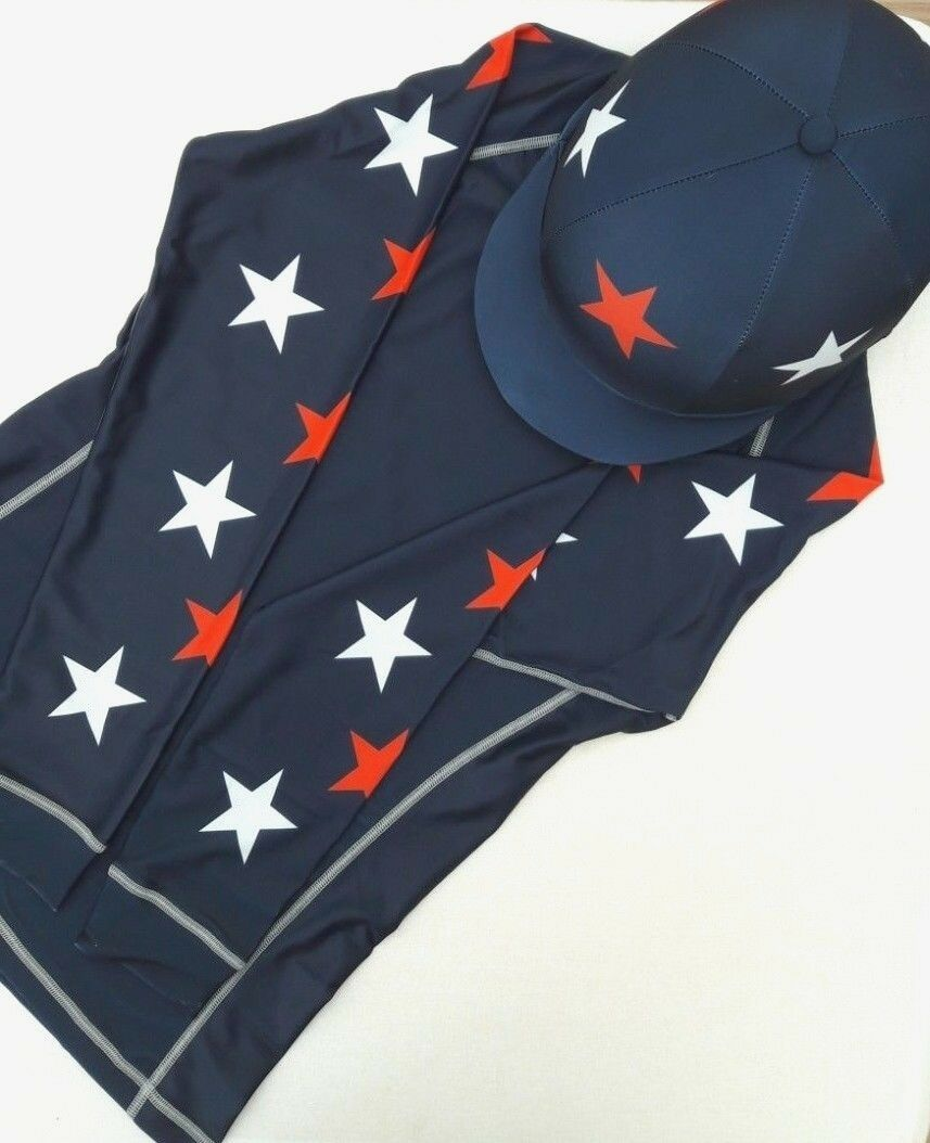 Cross Country XC Eventing Colours with Hat Silk and Stars (Navy Red White)