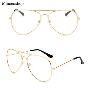 09cf8fba27a Gold Geek Nerd Clear Lens Pilot Glasses Fashion Teardrop Metal Frame ...