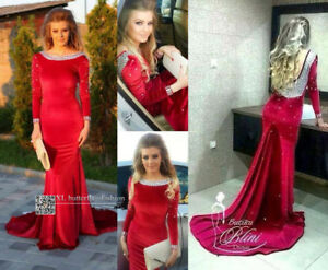 Red Velvet Mermaid Evening Dress Prom Dress With Crystal Formal Gown