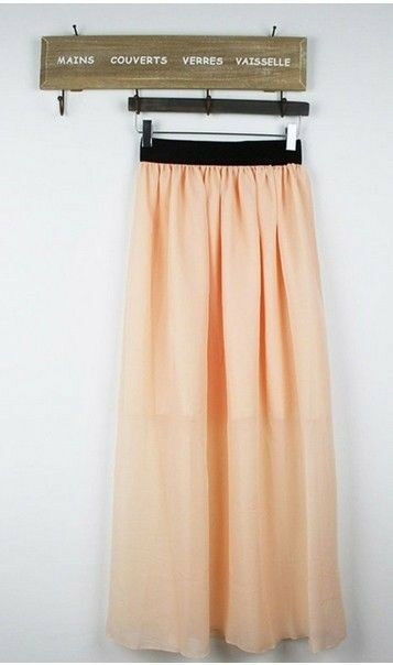 NEW Women Double Layer Chiffon Pleated Retro Long Maxi Dress Elastic Waist Skirt