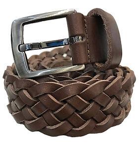 Cinturón Piel Trenzada Cuero Trenzado Lavada Paulhide Italia Ancho 3,5 cm Marrón