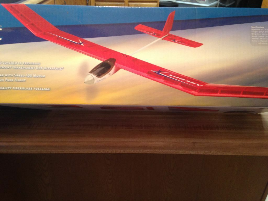 New R C E-Flite Ascent Sailplane Glider ARF With Motor - Great Thermal Flyer