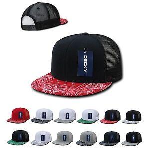 0ec70a50 DECKY 6 Panel Flat Bill Bandana Print Trucker Mesh Snapback Hat Cap ...