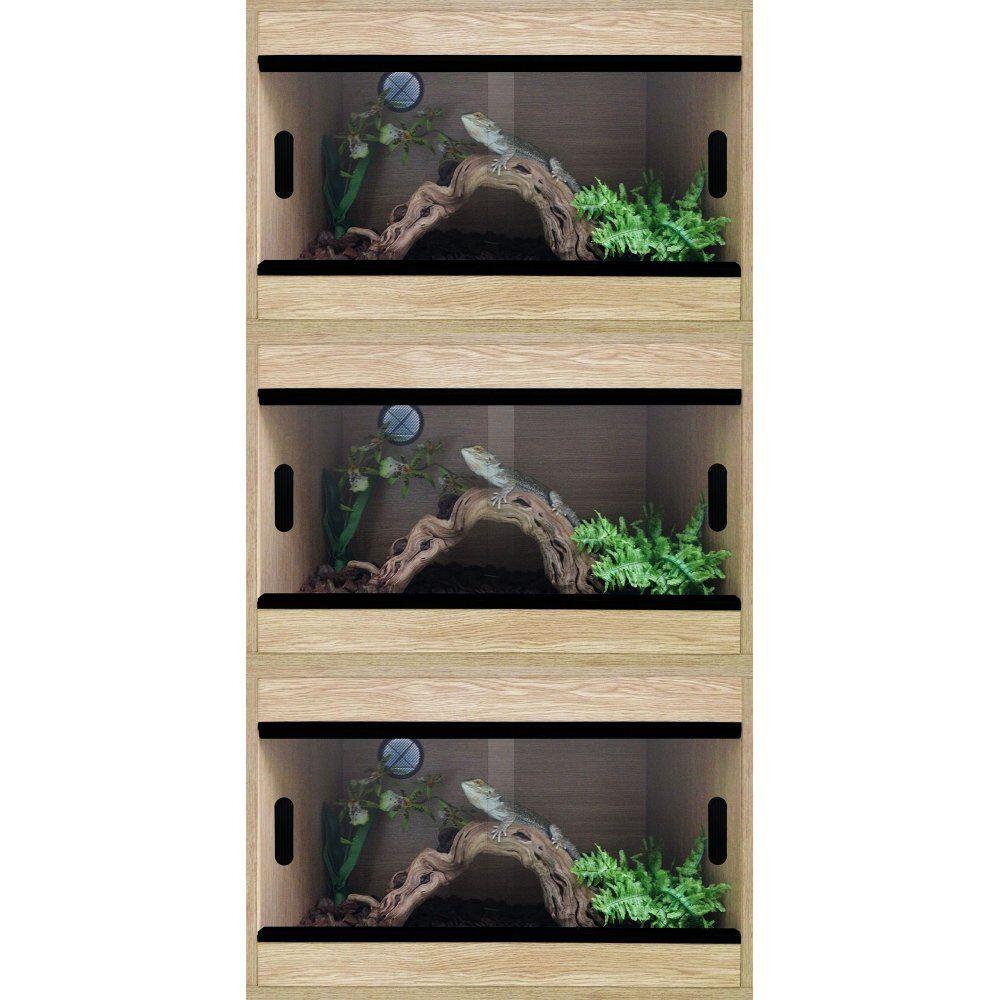 Terapod Stack of 3 - 24  2ft Slim Oak Pro Reptile Vivarium Housing  2 Foot