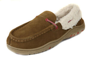 Rockport-Men-039-s-Cinnamon-Suede-Faux-Fur-Lined-Moccasin-Slippers-Shoes-Ret-75-New