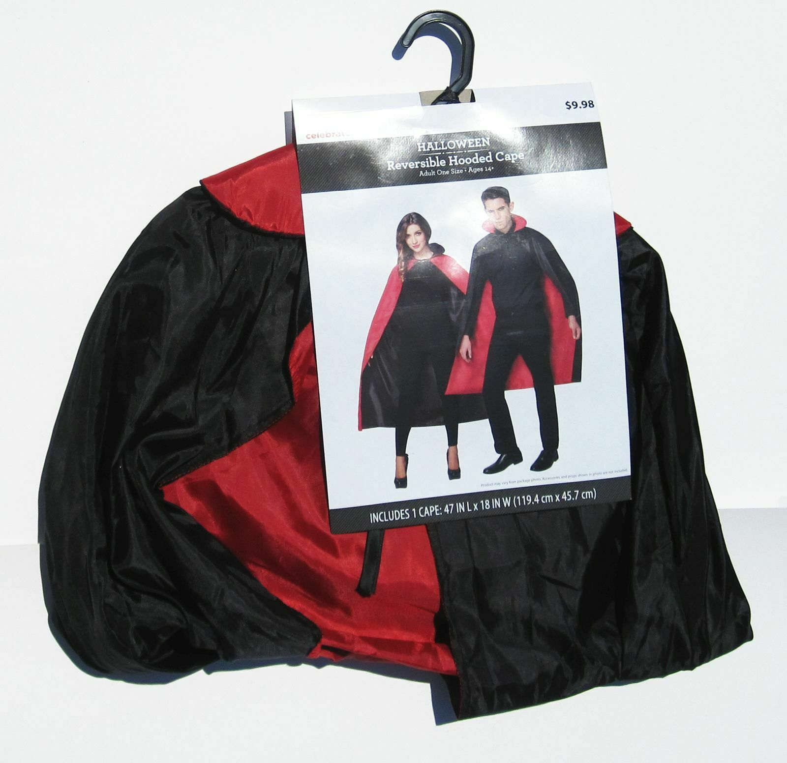 Hooded Vampire Cape Dracula Halloween Cosplay Costume Reversible Black Red NEW