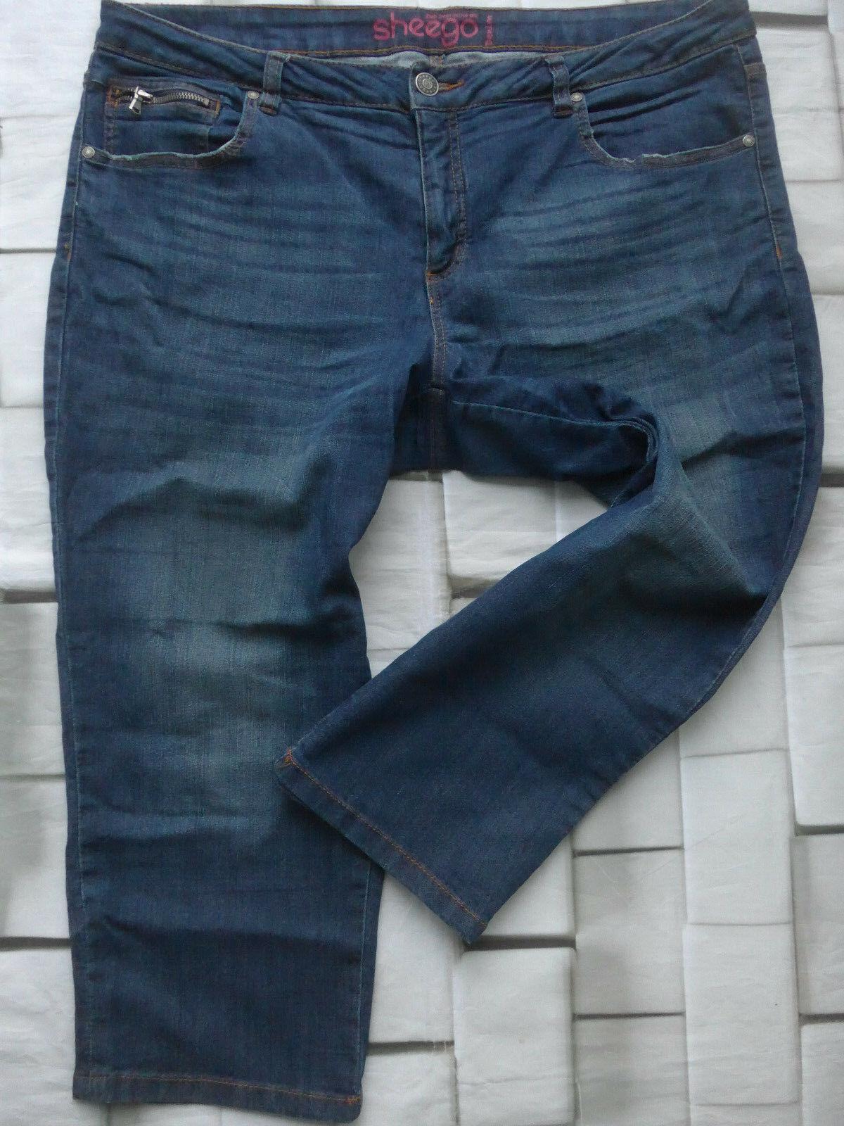 Sheego Jeans women 7 8 Pantaloni Capri Pantaloni Tgl 48 fino 54 blue (980)